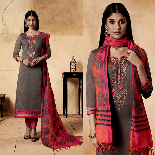 MOUSE GRAY-CARROT PINK CHANDERI SILK BANARASI DUPATTA UNSTITCHED SALWAR KAMEEZ SUIT DRESS MATERIAL w BEADS WORK LADIES DEN - Ladies Den