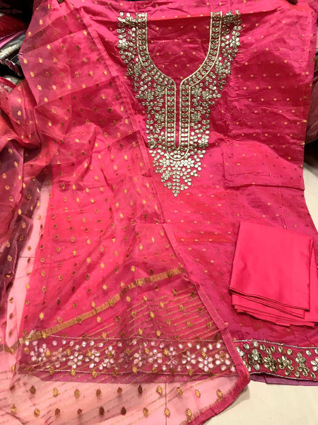 CARROT PINK JACQUARD SEMI-SILK BANARASI DUPATTA UNSTITCHED SALWAR KAMEEZ SUIT DRESS MATERIAL GOTA PATTI WORK LADIES DEN - Ladies Den