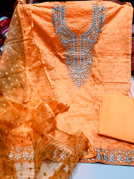 TURMERIC YELLOW JACQUARD SEMI-SILK BANARASI DUPATTA UNSTITCHED SALWAR KAMEEZ SUIT DRESS MATERIAL GOTA PATTI WORK LADIES DEN - Ladies Den