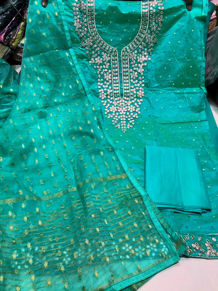 PERSIAN GREEN JACQUARD SEMI-SILK BANARASI DUPATTA UNSTITCHED SALWAR KAMEEZ SUIT DRESS MATERIAL GOTA PATTI WORK LADIES DEN - Ladies Den