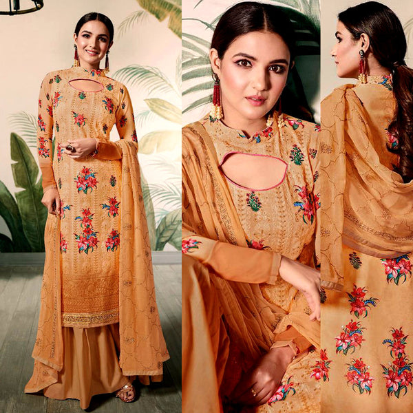 GOLDEN ROD PRINTED GEORGETTE w LAKHNAVI CHIKAN EMBR UNSTITCHED SALWAR KAMEEZ SUIT DRESS MATERIAL LADIES DEN - Ladies Den