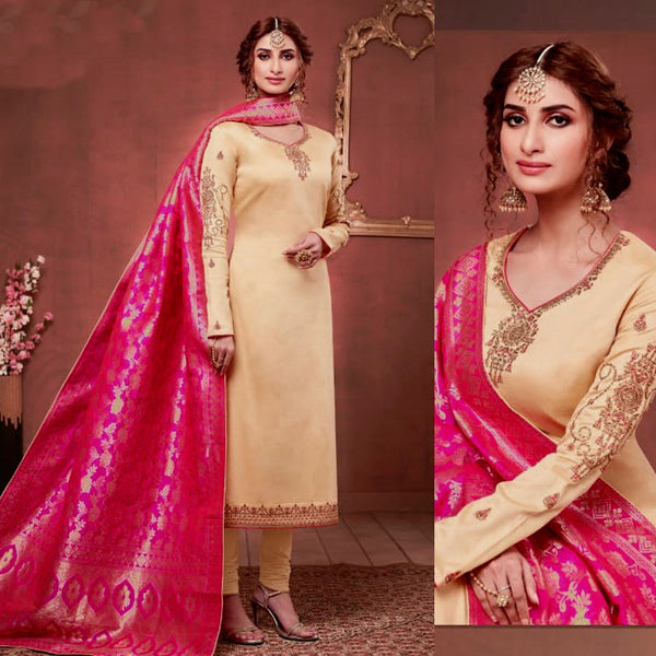 GOLDEN BEIGE SATIN COTTON UNSTITCHED SALWAR KAMEEZ SUIT DEEP PINK BANARASI BROCADE DUPATTA DRESS MATERIAL LADIES DEN - Ladies Den