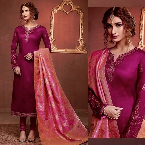 DARK MAGENTA SATIN COTTON UNSTITCHED SALWAR KAMEEZ SUIT HOT PINK BANARASI BROCADE DUPATTA DRESS MATERIAL LADIES DEN - Ladies Den