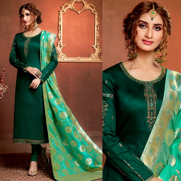 DARK GREEN SATIN COTTON UNSTITCHED SALWAR KAMEEZ SUIT AQUAMARINE BANARASI BROCADE DUPATTA DRESS MATERIAL LADIES DEN - Ladies Den