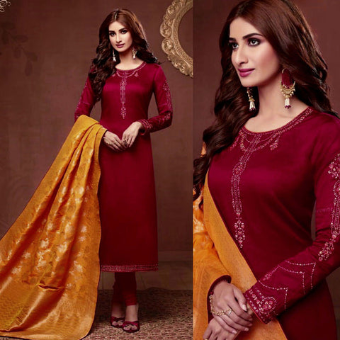 MAROON SATIN COTTON UNSTITCHED SALWAR KAMEEZ SUIT SAFFRON YELLOW BANARASI BROCADE DUPATTA DRESS MATERIAL LADIES DEN - Ladies Den