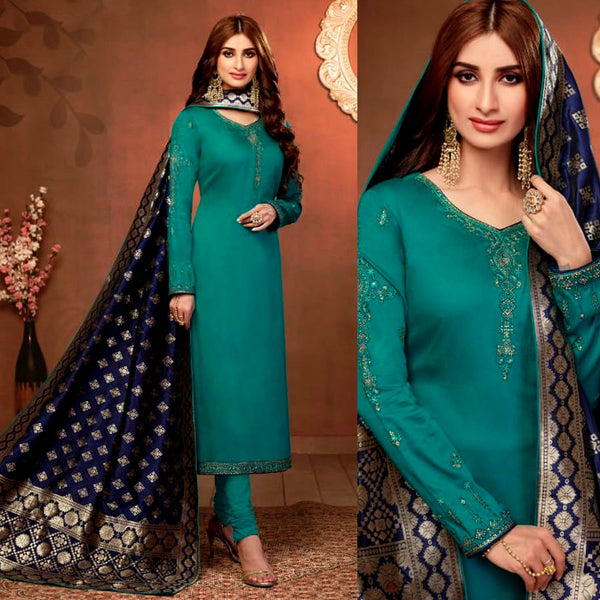 PERSIAN GREEN SATIN COTTON UNSTITCHED SALWAR KAMEEZ SUIT NIGHT BLUE BANARASI BROCADE DUPATTA DRESS MATERIAL LADIES DEN - Ladies Den