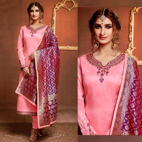 LIGHT PINK SATIN COTTON UNSTITCHED SALWAR KAMEEZ SUIT DARK MAGENTA BANARASI BROCADE DUPATTA DRESS MATERIAL LADIES DEN - Ladies Den