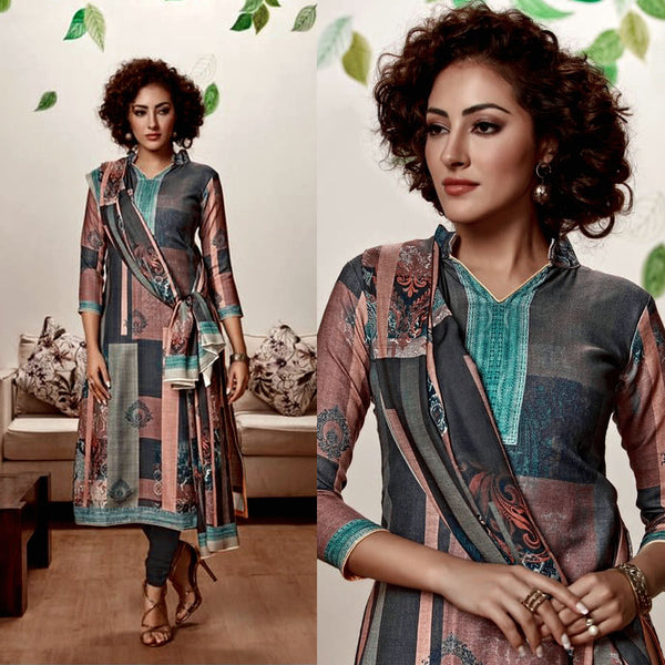DARK SLATE GRAY DESIGNER PRINTED PASHMINA WOOL UNSTITCHED SALWAR KAMEEZ SUIT DRESS MATERIAL LADIES DEN - Ladies Den