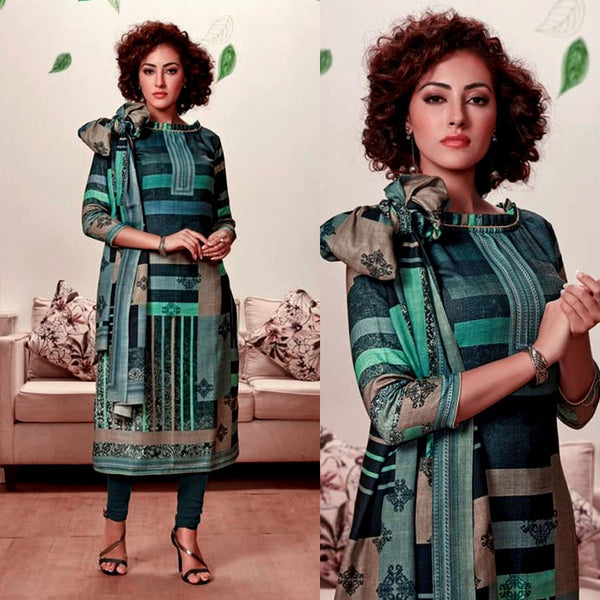 NIGHT GREEN DESIGNER PRINTED PASHMINA WOOL UNSTITCHED SALWAR KAMEEZ SUIT DRESS MATERIAL LADIES DEN - Ladies Den
