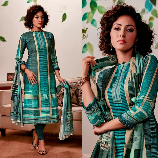 DARK TEAL GREEN DESIGNER PRINTED PASHMINA WOOL UNSTITCHED SALWAR KAMEEZ SUIT DRESS MATERIAL LADIES DEN - Ladies Den