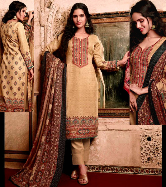 GOLDEN BEIGE KASHMIRI STYLE PRINTED PASHMINA WOOL UNSTITCHED SALWAR KAMEEZ SHAWL SUIT w EMBR DRESS MATERIAL LADIES DEN - Ladies Den