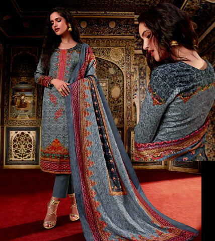 SLATE GRAY KASHMIRI STYLE PRINTED PASHMINA WOOL UNSTITCHED SALWAR KAMEEZ SHAWL SUIT w EMBR DRESS MATERIAL LADIES DEN - Ladies Den