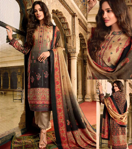 BEIGE-BLACK KASHMIRI STYLE PRINTED PASHMINA WOOL UNSTITCHED SALWAR KAMEEZ SHAWL SUIT w EMBR DRESS MATERIAL LADIES DEN - Ladies Den