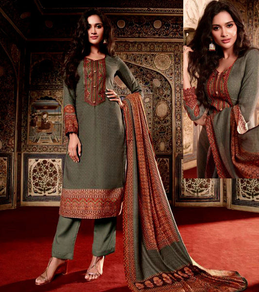 DULL MOSS GREEN KASHMIRI STYLE PRINTED PASHMINA WOOL UNSTITCHED SALWAR KAMEEZ SHAWL SUIT w EMBR DRESS MATERIAL LADIES DEN - Ladies Den