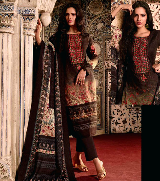 DARK COFFEE BROWN KASHMIRI STYLE PRINTED PASHMINA WOOL UNSTITCHED SALWAR KAMEEZ SHAWL SUIT w EMBR DRESS MATERIAL LADIES DEN - Ladies Den