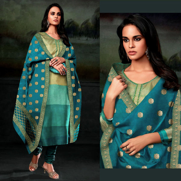 TURQUOISE-TEAL PRINTED SEMI CREPE SILK UNSTITCHED SALWAR KAMEEZ SUIT BANARASI DUPATTA DRESS MATERIAL UP TO READY SIZE 64 LADIES DEN - Ladies Den