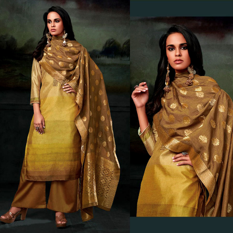 YELLOW PRINTED SEMI CREPE SILK UNSTITCHED SALWAR KAMEEZ SUIT BANARASI DUPATTA DRESS MATERIAL UP TO READY SIZE 64 LADIES DEN - Ladies Den