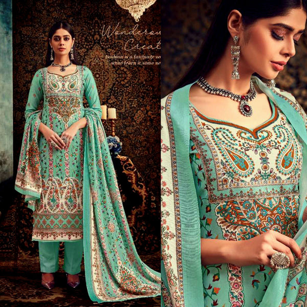 PALE TURQUOISE DESIGNER KASHMIRI STYLE PRINTED PASHMINA WOOL UNSTITCHED SALWAR KAMEEZ SHAWL SUIT DRESS MATERIAL LADIES DEN - Ladies Den