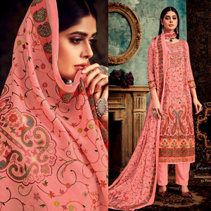 SALMON PINK DESIGNER KASHMIRI STYLE PRINTED PASHMINA WOOL UNSTITCHED SALWAR KAMEEZ SHAWL SUIT DRESS MATERIAL LADIES DEN - Ladies Den