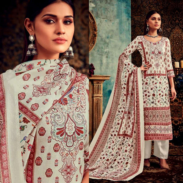 OFF WHITE DESIGNER KASHMIRI STYLE PRINTED PASHMINA WOOL UNSTITCHED SALWAR KAMEEZ SHAWL SUIT DRESS MATERIAL LADIES DEN - Ladies Den
