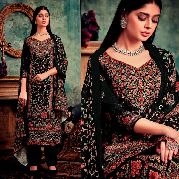 BLACK DESIGNER KASHMIRI STYLE PRINTED PASHMINA WOOL UNSTITCHED SALWAR KAMEEZ SHAWL SUIT DRESS MATERIAL LADIES DEN - Ladies Den