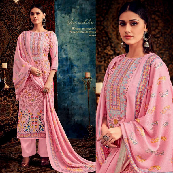BABY PINK DESIGNER KASHMIRI STYLE PRINTED PASHMINA WOOL UNSTITCHED SALWAR KAMEEZ SHAWL SUIT DRESS MATERIAL LADIES DEN - Ladies Den