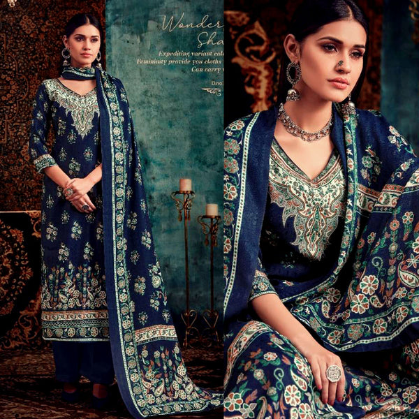 NIGHT BLUE DESIGNER KASHMIRI STYLE PRINTED PASHMINA WOOL UNSTITCHED SALWAR KAMEEZ SHAWL SUIT DRESS MATERIAL LADIES DEN - Ladies Den