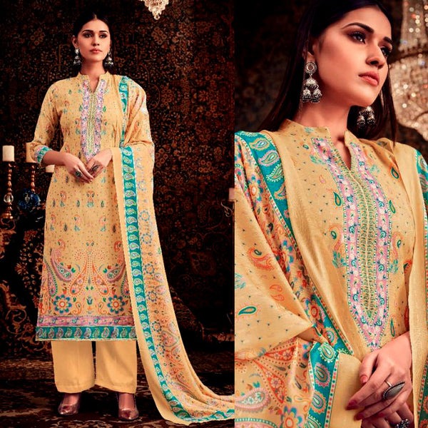 YELLOW DESIGNER KASHMIRI STYLE PRINTED PASHMINA WOOL UNSTITCHED SALWAR KAMEEZ SHAWL SUIT DRESS MATERIAL LADIES DEN - Ladies Den