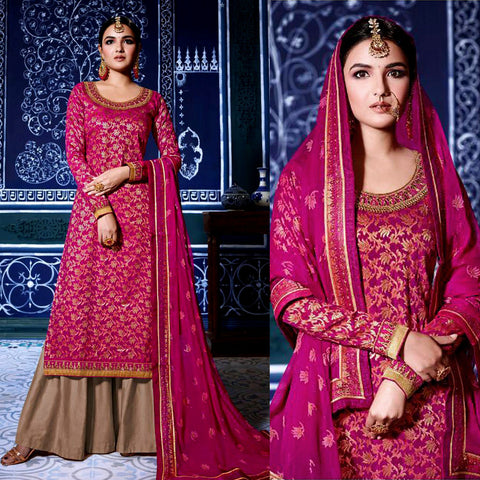 DEEP PINK-BROWN BANARASI BROCADE SILK UNSTITCHED SALWAR KAMEEZ SUIT DRESS MATERIAL w EMBR LADIES DEN - Ladies Den