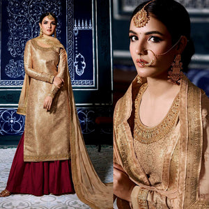 BEIGE-MAROON BANARASI BROCADE SILK UNSTITCHED SALWAR KAMEEZ SUIT DRESS MATERIAL w EMBR LADIES DEN - Ladies Den
