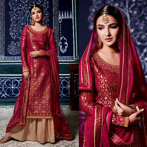 RED-FAUN BANARASI BROCADE SILK UNSTITCHED SALWAR KAMEEZ SUIT DRESS MATERIAL w EMBR LADIES DEN - Ladies Den