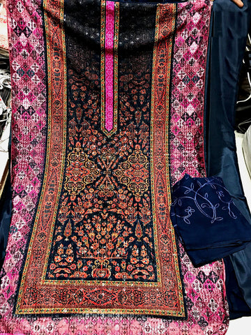 DEEP PINK-NIGHT BLUE PAKISTANI STYLE PRINTED GEORGETTE UNSTITCHED SALWAR KAMEEZ SUIT DRESS MATERIAL w CHIKAN WORK LADIES DEN - Ladies Den