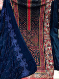RED-NIGHT BLUE PAKISTANI STYLE PRINTED GEORGETTE UNSTITCHED SALWAR KAMEEZ SUIT DRESS MATERIAL w CHIKAN WORK LADIES DEN - Ladies Den