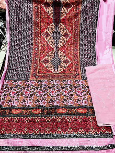 BABY PINK KASHMIRI STYLE PRINTED GEORGETTE UNSTITCHED SALWAR KAMEEZ SUIT DRESS MATERIAL w CHIKAN WORK LADIES DEN - Ladies Den