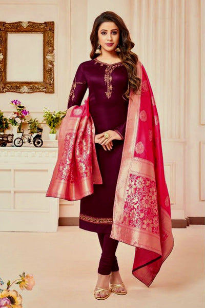 DARK BURGUNDY SATIN COTTON UNSTITCHED SALWAR KAMEEZ SUIT HOT PINK BANARASI BROCADE DUPATTA DRESS MATERIAL LADIES DEN - Ladies Den