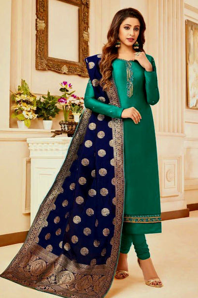 EMERALD GREEN SATIN COTTON UNSTITCHED SALWAR KAMEEZ SUIT NIGHT BLUE BANARASI BROCADE DUPATTA DRESS MATERIAL LADIES DEN - Ladies Den