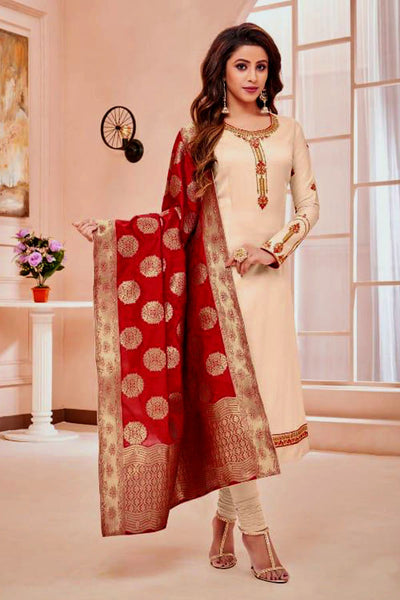 CREAM SATIN COTTON UNSTITCHED SALWAR KAMEEZ SUIT RED BANARASI BROCADE DUPATTA DRESS MATERIAL LADIES DEN - Ladies Den
