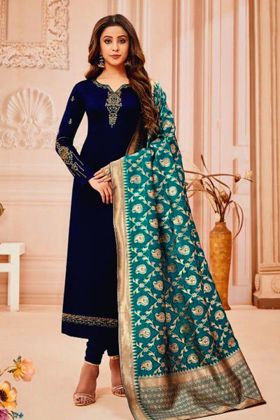 NIGHT BLUE SATIN COTTON UNSTITCHED SALWAR KAMEEZ SUIT PEACOCK GREEN BANARASI BROCADE DUPATTA DRESS MATERIAL LADIES DEN - Ladies Den