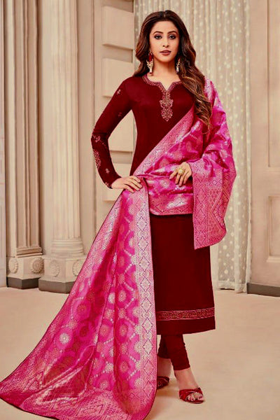 MAROON SATIN COTTON UNSTITCHED SALWAR KAMEEZ SUIT PINK BANARASI BROCADE DUPATTA DRESS MATERIAL LADIES DEN - Ladies Den