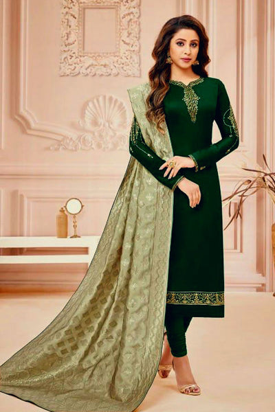 DARK GREEN SATIN COTTON UNSTITCHED SALWAR KAMEEZ SUIT LIGHT GREEN BANARASI BROCADE DUPATTA DRESS MATERIAL LADIES DEN - Ladies Den