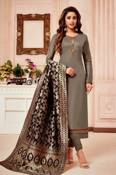 MOUSE GRAY SATIN COTTON UNSTITCHED SALWAR KAMEEZ SUIT BLACK BANARASI BROCADE DUPATTA DRESS MATERIAL LADIES DEN - Ladies Den