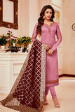 PALE VIOLET RED SATIN COTTON UNSTITCHED SALWAR KAMEEZ SUIT MAROON BROWN BANARASI BROCADE DUPATTA DRESS MATERIAL LADIES DEN - Ladies Den