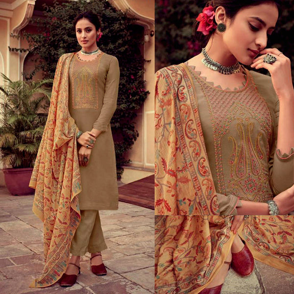 DARK KHAKI KASHMIRI NECK EMBR SATIN COTTON UNSTITCHED SALWAR KAMEEZ SUIT YELLOW PRINTED LAWN DUPATTA DRESS MATERIAL LADIES DEN - Ladies Den