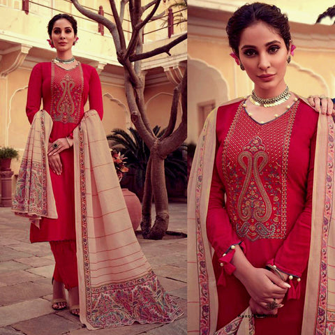 RUBY RED KASHMIRI NECK EMBR SATIN COTTON UNSTITCHED SALWAR KAMEEZ SUIT BEIGE PRINTED LAWN DUPATTA DRESS MATERIAL LADIES DEN - Ladies Den