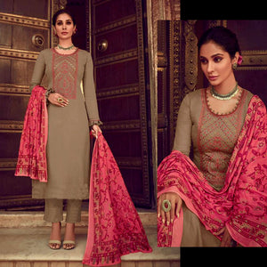 BROWN KASHMIRI NECK EMBR SATIN COTTON UNSTITCHED SALWAR KAMEEZ SUIT PINK PRINTED LAWN DUPATTA DRESS MATERIAL LADIES DEN - Ladies Den