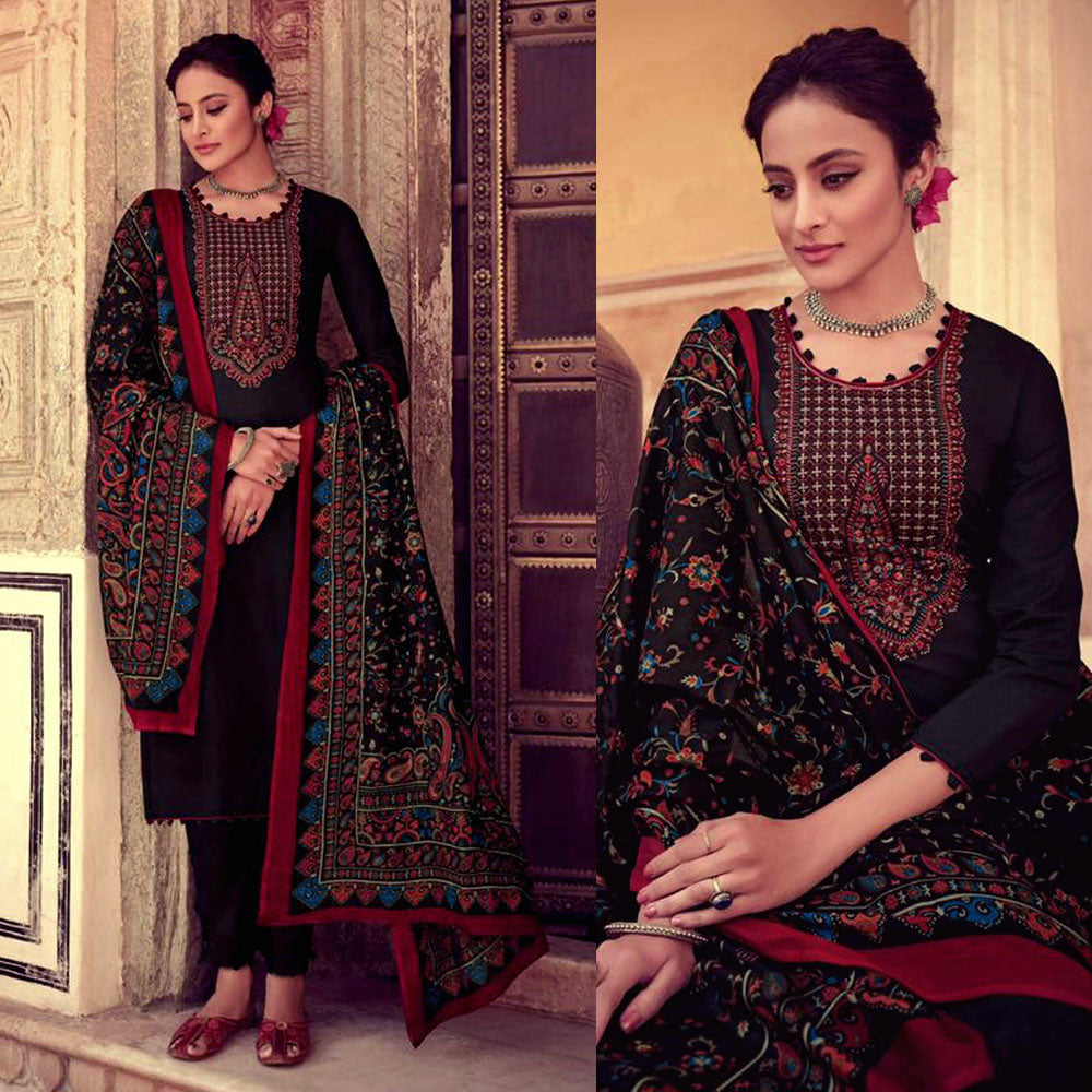BLACK KASHMIRI NECK EMBR SATIN COTTON UNSTITCHED SALWAR KAMEEZ SUIT PRINTED LAWN DUPATTA DRESS MATERIAL LADIES DEN - Ladies Den