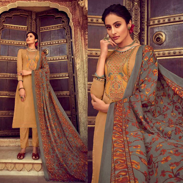 GOLDEN ROD KASHMIRI NECK EMBR SATIN COTTON UNSTITCHED SALWAR KAMEEZ SUIT GRAY PRINTED LAWN DUPATTA DRESS MATERIAL LADIES DEN - Ladies Den