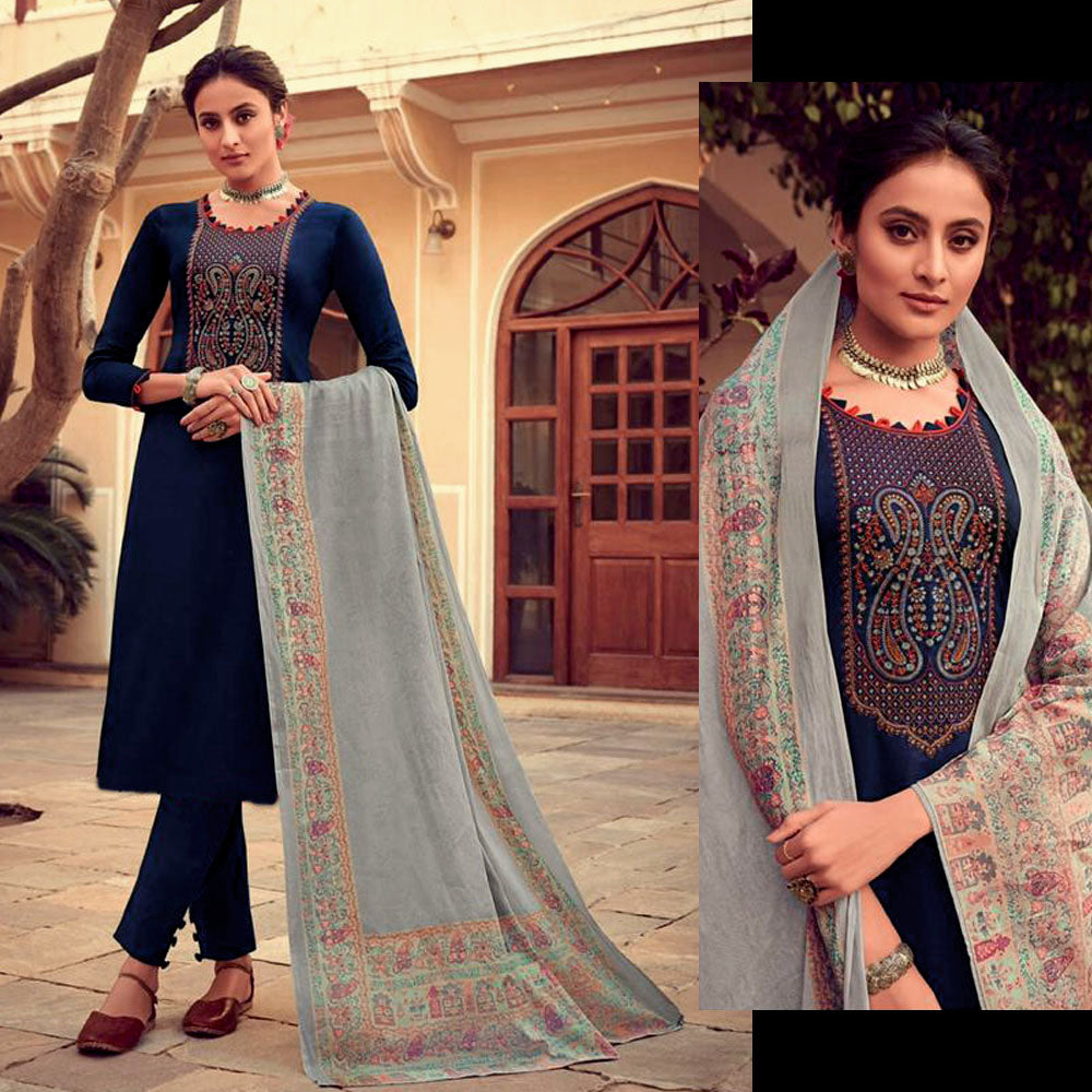 DARK NAVY BLUE KASHMIRI NECK EMBR SATIN COTTON UNSTITCHED SALWAR KAMEEZ SUIT LT GRAY PRINTED LAWN DUPATTA DRESS MATERIAL LADIES DEN - Ladies Den