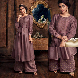 ROSE BROWN READYMADE SIZE 44/XXL MUGA SILK SALWAR KAMEEZ KURTA PALAZZO PARTY SUIT LADIES DEN - Ladies Den