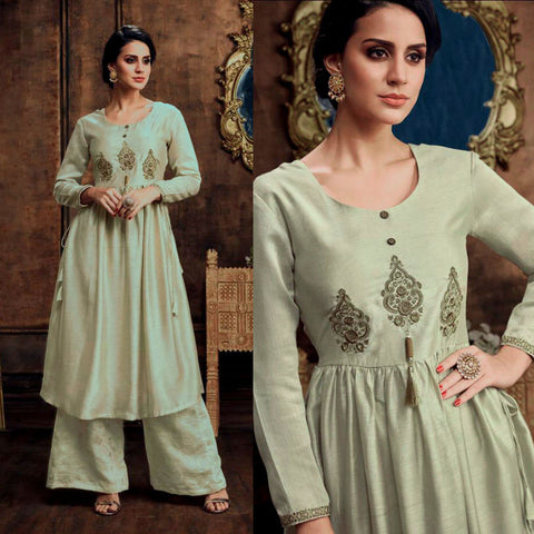 PALE GREEN READYMADE SIZE 44/XXL MUGA SILK SALWAR KAMEEZ KURTA PALAZZO PARTY SUIT LADIES DEN - Ladies Den